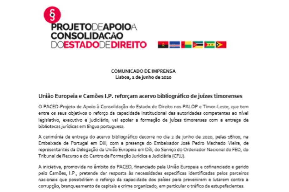 Comunicado de Imprensa: União Europeia e Camões I.P. reforçam acervo bibliográfico de juízes timorenses