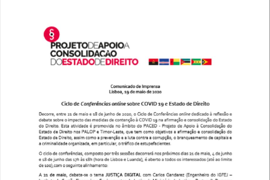 Comunicado de Imprensa: Ciclo de Conferências online sobre COVID 19 e Estado de Direito