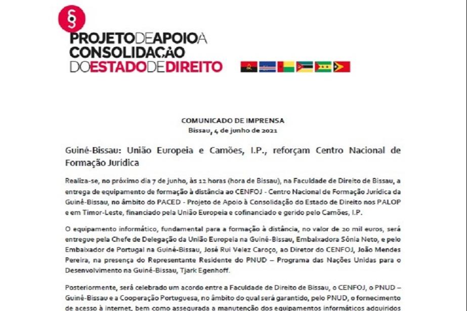 Comunicado de Imprensa: Guiné-Bissau: União Europeia e Camões, I.P., reforçam Centro Nacional de Formação Jurídica