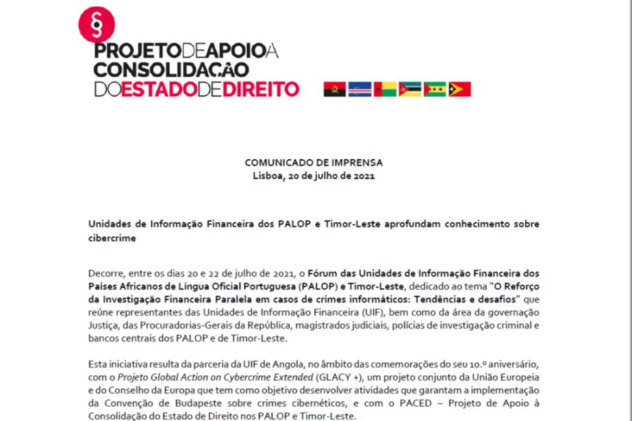 Comunicado de imprensa: Unidades de Informação Financeira dos PALOP e Timor-Leste aprofundam conhecimento sobre cibercrime