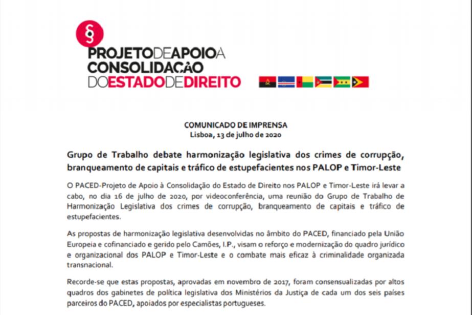 Comunicado de Imprensa: Grupo de Trabalho debate harmonização legislativa dos crimes de corrupção, branqueamento de capitais e tráfico de estupefacientes nos PALOP e Timor-Leste