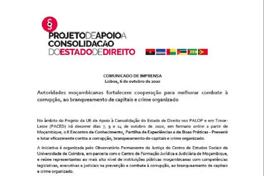 Comunicado de Imprensa: Autoridades moçambicanas fortalecem cooperação para melhorar combate à corrupção, ao branqueamento de capitais e crime organizado