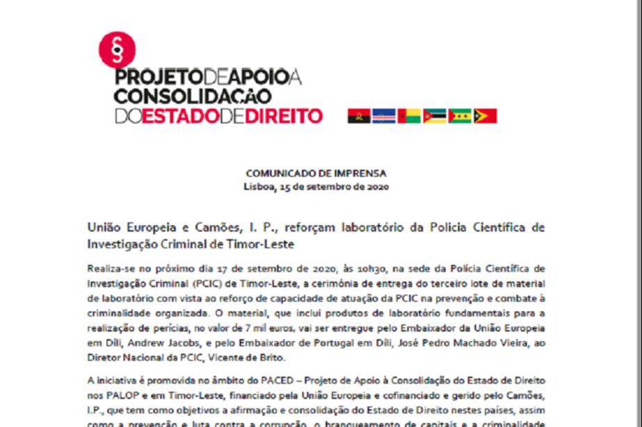 Comunicado de Imprensa: União Europeia e Camões, I. P. reforçam laboratório da Polícia Científica de Investigação Criminal de Timor-Leste