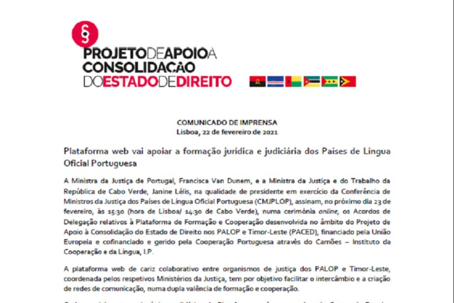 Comunicado de Imprensa:Plataforma web vai apoiar a formação jurídica e judiciária dos Países de Língua Oficial Portuguesa