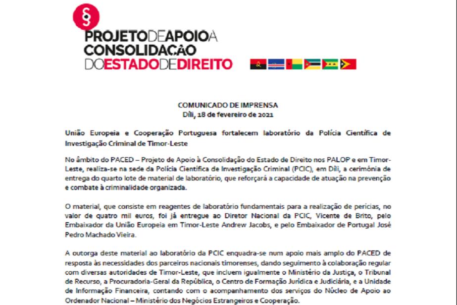 Comunicado de Imprensa: União Europeia e Cooperação Portuguesa fortalecem laboratório da Polícia Científica de Investigação Criminal de Timor-Leste