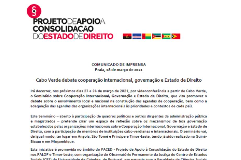 Comunicado de imprensa: Cabo Verde debate cooperação internacional, governação e Estado de Direito