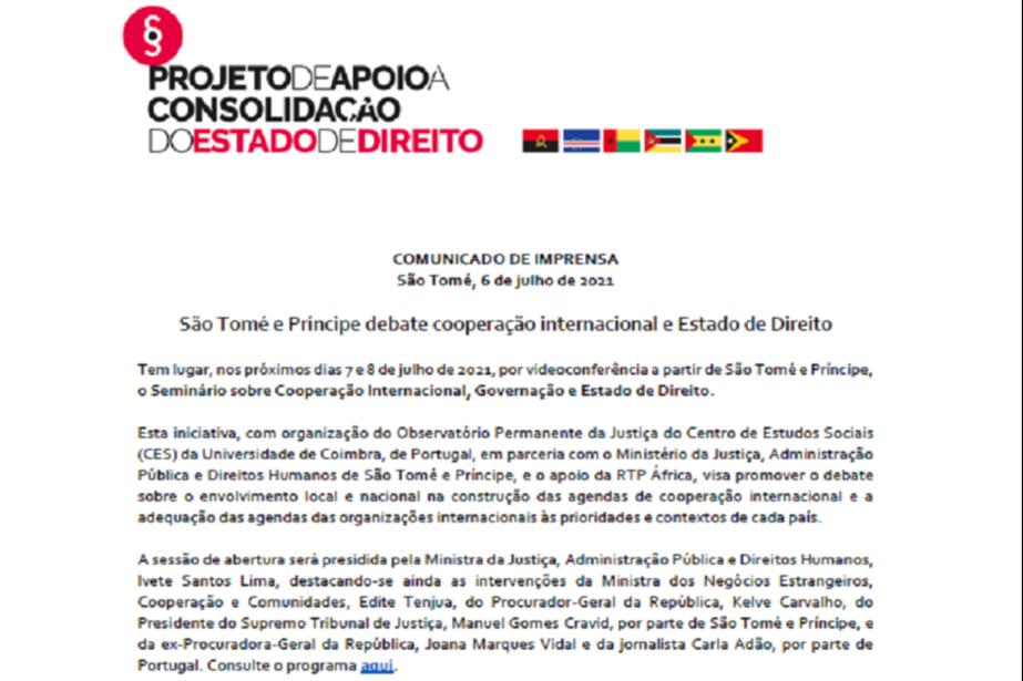 Comunicado de Imprensa: São Tomé e Príncipe debate cooperação internacional e Estado de Direito