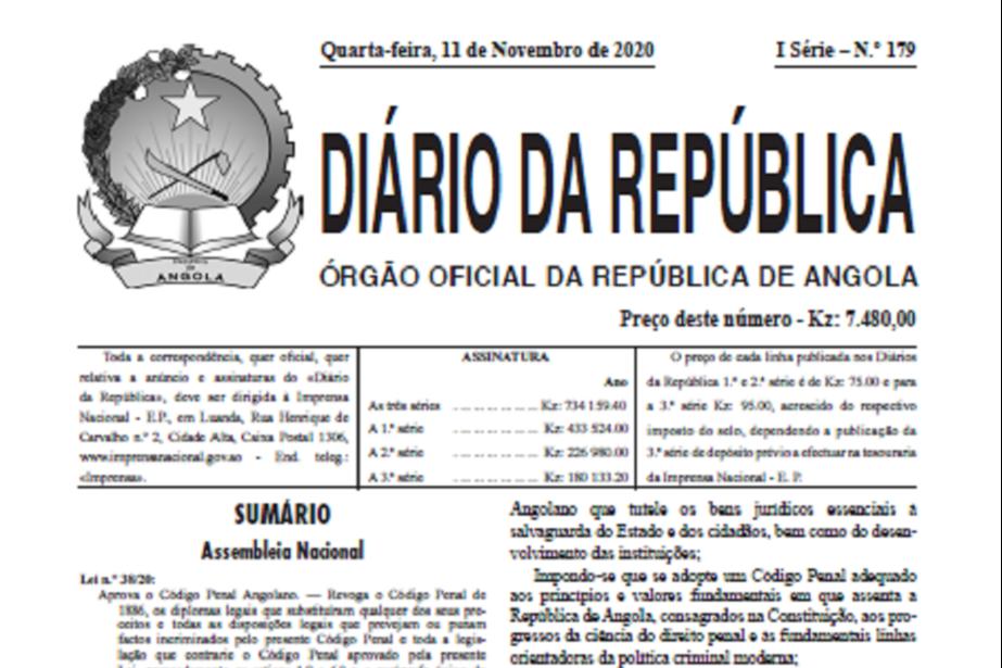 Angola: Publicado Novo Código Penal e Código do Processo Penal que entra em vigor em fevereiro de 2021