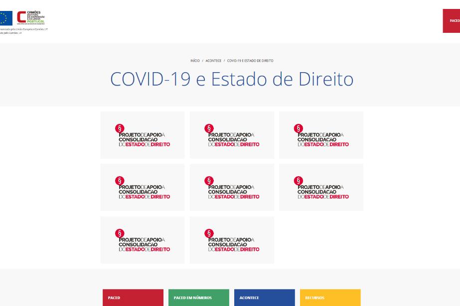 Área temática sobre COVID 19 e Estado de Direito lançada no âmbito do PACED
